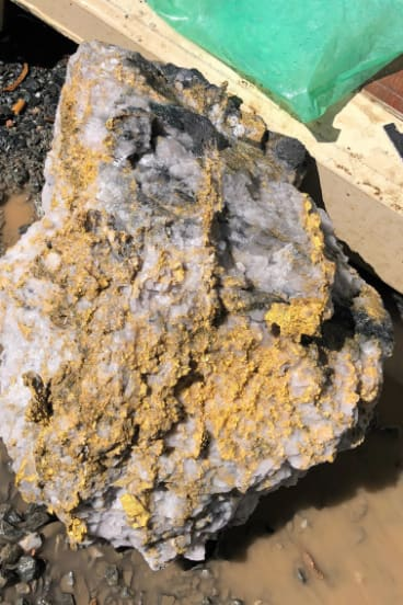Gold specimen stone recovered from the Beta Hunt mine at Kambalda, WA.
