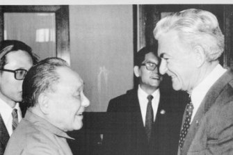 Australian Prime Minister Bob Hawke is greeted by China's top leader, Deng Xiaoping, on May 20, 1986.