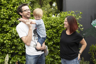 Brent Winstone and Elle Green, parents of Louis, are part of a growing cohort of Sydneysiders where both parents work full time and have children under the age of five.