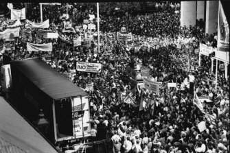 Workers gather near Parliament house yesterday to protest against the proposed industrial relations legislation. September 17, 1991.
