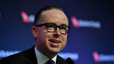 Qantas chief executive Alan Joyce's pay fell 56 per cent - to $10.9 million.
