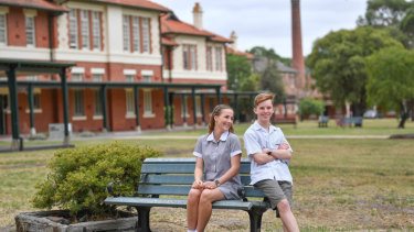 Ivanhoe Grammar School year nine students Lucy Schaefer and Luke McAlister at their new campus at La Trobe University.