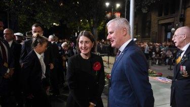 Deputy Prime Minister Michael McCormack and NSW Premier Gladys Berejiklian at the dawn service.