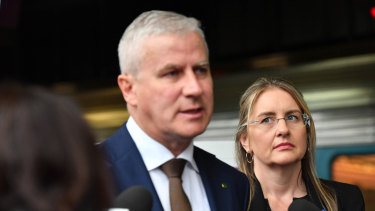 Deputy PM Michael McCormack and Victorian Minister for Public Transport Jacinta Allan make an announcement regarding the Inland Rail in March this year.
