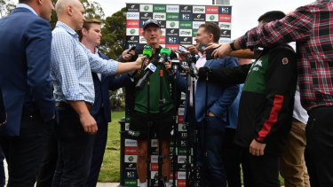 Oval office: Wayne Bennett holds court after Rabbitohs training at Erskinville Oval.