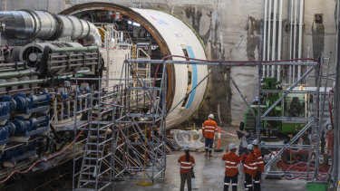 Wendy, one of two tunnel boring machines at Chatswood, starts tunnelling south towards Blues Point.