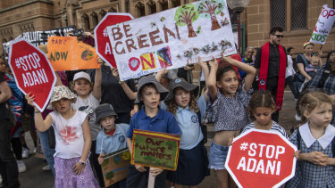 Workers and school students Strike for the Climate in Sydney on Friday.
