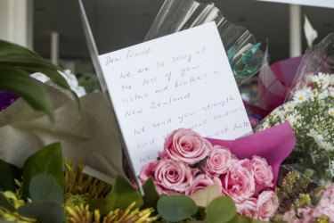 A message of support at Newport Mosque for Christchurch massacre victims.