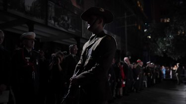A soldier at the Martin Place dawn service.