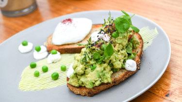 Extremely popular: smashed avocado on toast.