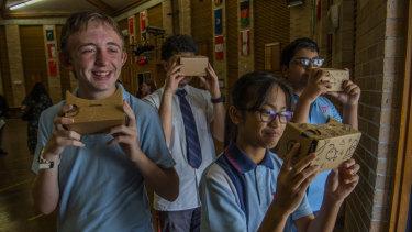 Doonside Technology High School students Harrison Try, Emily Yaneza, Alain Bidar  and Ruhit Saha viewing virtual reality during the STEM program.