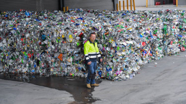 SKM site manager Peter Venditti with the finished product,plastic ready to be recycled.