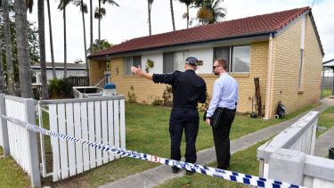 The crime scene in Thompson Street, north of Brisbane.