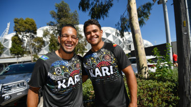 Deadly weapons: Origin foes Will Chambers and Latrell Mitchell will team up for the Indigenous All Stars.