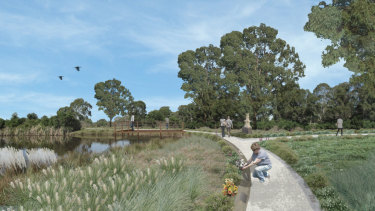 An artist's impression of the cemetery proposed for Varroville, near Campbelltown.