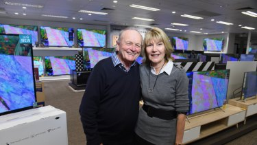 Harvey Norman chairman Gerry Harvey and CEO Katie Page at their new flagship store in Auburn.