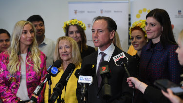 Federal Health Minister Greg Hunt launches the National Action Plan for Endometriosis surrounded by endo advocates and supporters at the Royal Hospital for Women in Randwick on Thursday.