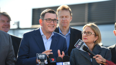 Premier Daniel Andrews and Transport Minister Jacinta Allan announcing the suburban rail line project on Tuesday morning.