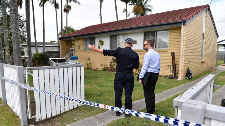 The crime scene in Thompson Street, north of Brisbane.