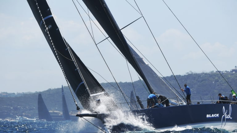 Early leader: Black Jack tackles the opening stages of the Sydney to Hobart.