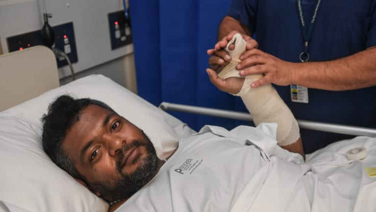Judeland Antony suffered a broken pelvis and hand and a serious spinal cord injury after being struck while crossing Bourke Street in Docklands on Wednesday.