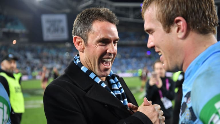 Open and honest: Blues coach Brad Fittler (left).