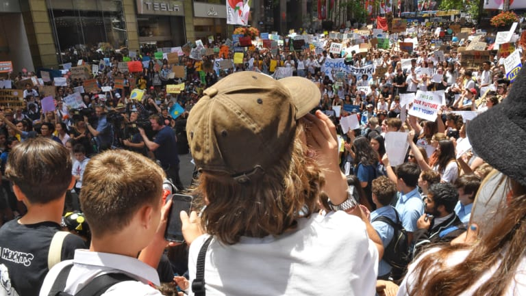 Thousands of students are protesting in Sydney's Martin Place against the government's   inaction on climate change.