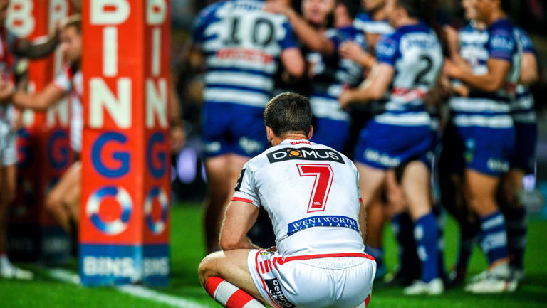 Boos brothers: Ben Hunt comes to terms with a big defeat to the Bulldogs at Jubilee Oval recently, which prompted fans to boo the players from the field.