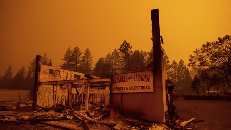 The remains of a store in Paradise, California.