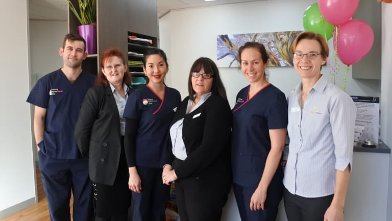 The team at Brindabella Podiatry in Tuggeranong have opened the new Canberra Ingrown Toenail Clinic as part of its Anketell Street premises (l-r) Luke Doyle, Nell Smit, Lydia Kim, Darelle Fuller, Nicole Hart and Kylie Schramm.