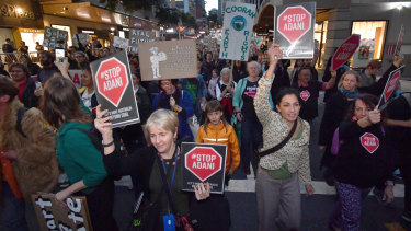 Anti-Adani protestors from Uni Students for Climate Justice marching through Brisbane streets on June 7.