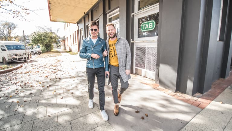 The <i>Queer Eye</i> team have hit Yass for their signature makeover show. Antoni Porowski, left, and Bobby Berk are making over the Club House Hotel.