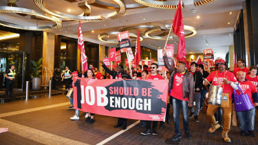 United Workers Union delegates marching last month.