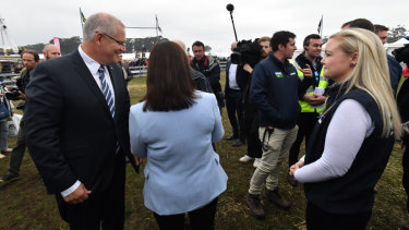 Prime Minister Scott Morrison and Liberal candidate Jessica Whelan campaigning near Launceston, Tasmania, on Thursday.