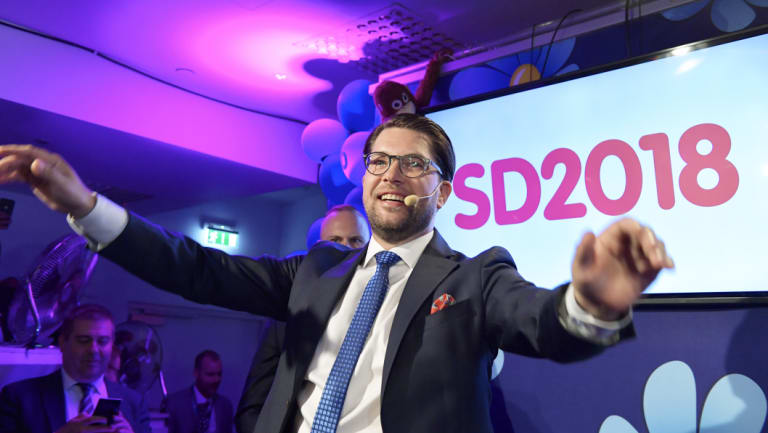 Sweden Democrats party leader Jimmie Åkesson speaks at the election party in  Stockholm, Sweden, on Sunday.