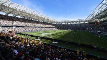 Sight to behold: Over 20,000 fans filled Bankwest Stadium to watch the Matildas' friendly victory.