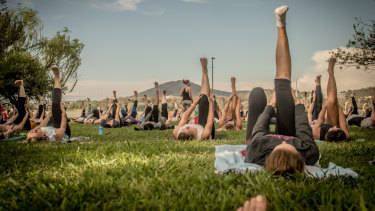 Join in some yoga by the lake before heading off for breakfast.
