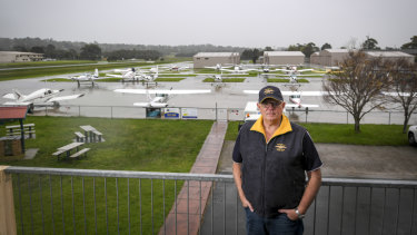 Jack Vevers in front of the Tyabb airfield.