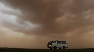 Dust storms swept much of NSW on Saturday.