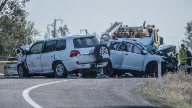 The scene of the fatal crash on the Barton Highway at Wallaroo.