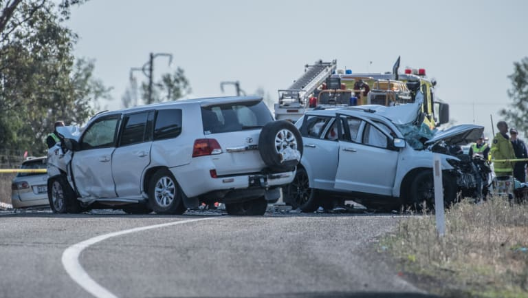 The scene of the fatal crash on the Barton Highway at Wallaroo.