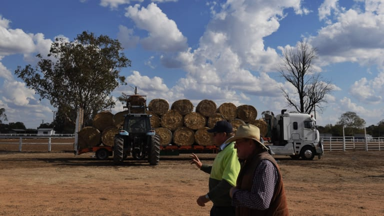 Hay is distributed in the drought-ravaged region around Wee Waa in north central NSW.