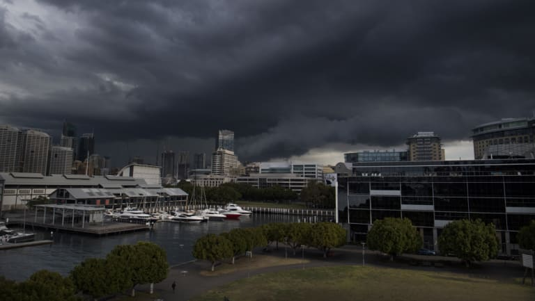 Storm clouds over Sydney's CBD on Friday afternoon.