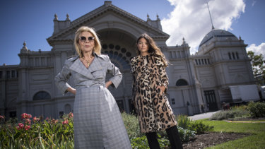 Grand vision ... Designer Carla Zampatti (left) with a model ahead of Wednesday night's Grand Showcase at the Virgin Australia Melbourne Fashion Festival.