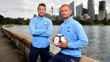 Strike force: Sydney FC will look to recruits Adam Le Fondre, left, and Siem de Jong to cover the losses of the prolific Bobo and Adrian Mierzejewski.