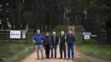 Lindsay Mates, Jillian Ah Ling, Stan Stevens, Mike Guerin and Ryan Macwhirter outside Tom Zhou's property 'Balaclava'.