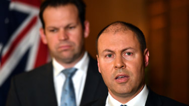 Minister for Resources Matt Canavan and Minister for Energy Josh Frydenberg at a press conference after the meeting.