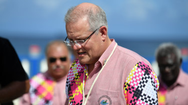 Prime Minister Scott Morrison in the Tuvalu capital, Funafuti, this week.