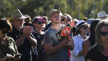 Australian Rugby Union player David Pocock attends a Stop Adani protest outside Parliament House last Tuesday.