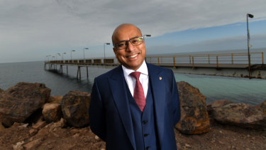 Not quite wiped off the map ... GFG Alliance executive chairman Sanjeev Gupta on the Whyalla jetty.